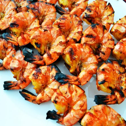 Coconut, lime and chilli barbequed whole King prawns